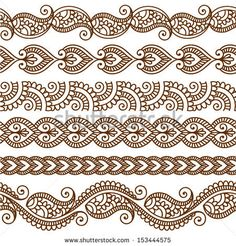 Ornamental seamless borders. Vector set with abstract floral elements in indian style by Bariskina, via ShutterStock