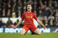 Liverpool's Jordan Henderson celebrates after he scored their second goal #LFC