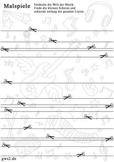 Schneiden lernen - Vorlage mit geraden Linien