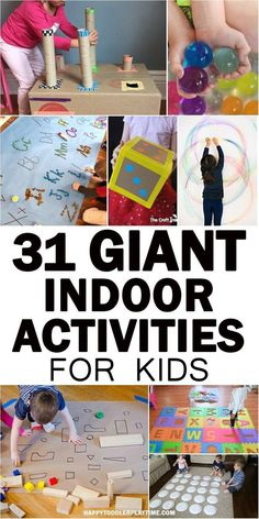 GIANT Indoor Activities for Kids Here is a GIGANTIC list of GIANT indoor kids activities to do with your toddler or preschooler indoors. From letters to sensory to art and more. games for toddlers Indoor Activities For Toddlers, Sensory Activities, Preschool Activities, Motor Activities, Infant Activities, Rainy Day Activities For Kids, Indoor Games For Kids, Quiet Toddler Activities, Therapy Activities