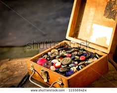 retro collection of vintage buttons in old wooden box with grunge texture