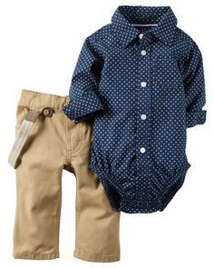 Featuring a crisp poplin bodysuit and easy-on twill pants he's set for holiday parties. Attached suspenders complete this picture perfect look!