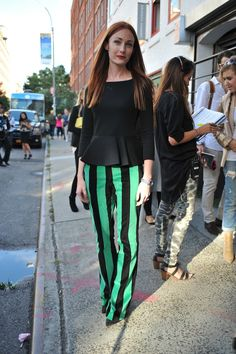 New York Fashion Week  love the hair color. love the pants.