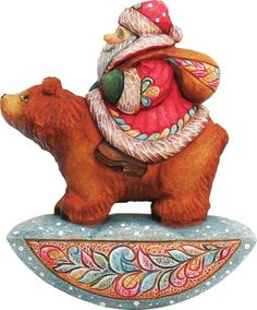 G Debrekht Sant a Figurine on Grizzly Bear Ornament 312Inch Tall HandPainted Includes Hanger that Fits in Hole on Top *** For more information, visit image link.