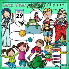 St Brigid, Julius Caesar, Poepe Gregory, kids Leap Year clip art  set features 44 items: 22 clip arts in color. 22 clip arts in black & white.All images are 300dpi, Png files.This clipart license allows for personal, educational, and commercial small business use.
