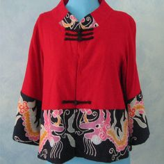 Red Chinese Blouse or Chinese Jacket with Batik by MAKvintage4u, $38.00