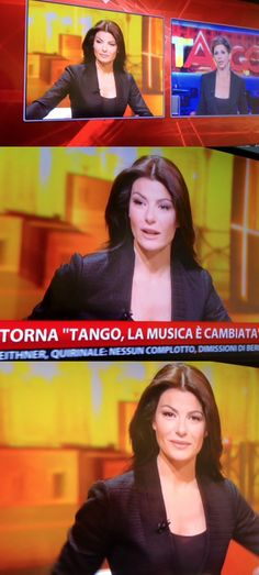 Ilaria d'Amico, italian journalist, wearing an amazing Tonello jacket during the live broadcast of Sky News. (May 14th, 2014)