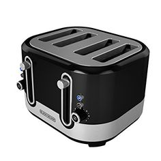 Amazon.com: BLACK+DECKER TR4200SBD 4-Slice Extra Wide Slot Toaster, Bagel Toaster, Black/Stainless Steel: Kitchen & Dining