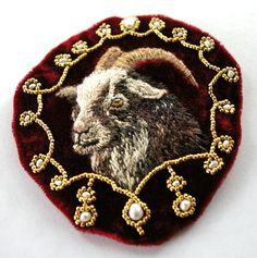 "https://flic.kr/p/dX8CEK   regal goat appliqué   3"" x 3.25"" red velvet, gold glass beads, fresh water pearls, hand embroidery."
