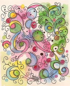 spiral watercolor plants twirls blotches light green blue yellow pink pattern Doodling by jjlcooterpie, via Flickr