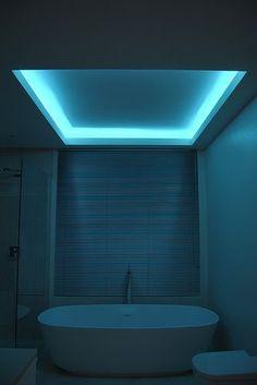 Bathroom Lighting Ideas For your Home Using RGB Lumilum Strip Light. Led light bathroom ambient www. Led Lighting Home, Cove Lighting, Strip Lighting, Interior Lighting, Indirect Lighting, Lighting Ideas, Lighting Logo, Lighting System, Bathroom Lighting Design