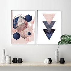 Set of 2 printable blush pink, navy blue and rose gold geometric art prints Blue And Gold Bedroom, Blush Pink Bedroom, Navy Blue Bedrooms, Teal And Gold, Rose Gold, Blush Rose, Rose Bedroom, Maroon Walls, Burgundy Walls
