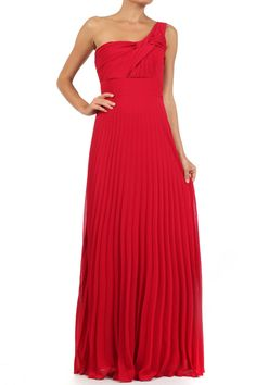Red Solid Pleated One Shoulder Full Length Dress With Fabric Knot Detail