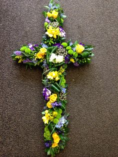 Textured cross Funeral Tributes, Sympathy Flowers, Funeral Flowers, Flower Arrangements, Floral Wreath, Wreaths, Texture, Bespoke, Creative