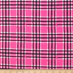Stretch Ponte Roma Knit Plaid Pink/Black from @fabricdotcom  This ponte de roma double knit fabric has a soft hand, full bodied drape and 40% stretch across the grain. This knit is perfect for creating skirts, dresses, form fitting apparel, jackets, heavier tops and more! Colors include black, white and neon pink.