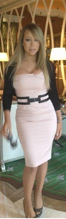 Mariah Carey: Dress – Roland Mouret  Sweater – Alaia