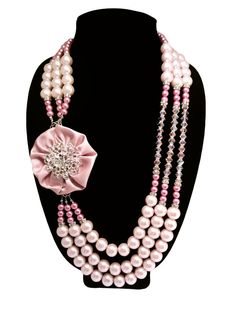 Handmade, vintage inspired, J by JT statement necklace featuring long beaded strands of pretty pinks, satin flowers, and sparkly brooches. What's not to love?! ;-)     VINTAGE SECRET GARDEN Statement Necklace by JewelryByJessicaT,