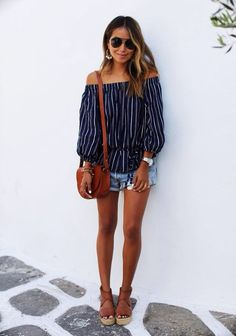 #SpringBreak #Outfits / Black Of the Shoulder Blouse - Denim Short Shorts