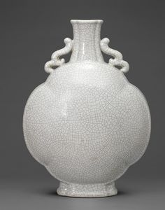 A large ge-type glazed quatrefoil moonflask, Yongzheng six-character seal mark in underglaze blue and of the period (1723-1735)