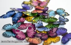 """QUICK Butterflies to decorate--ANYTHING! She shows a lot of Cards. Evidently """"coptic"""" is a brand of marker, but what her video shows how to quickly create these beauties. Copic butterfly tutorial"""