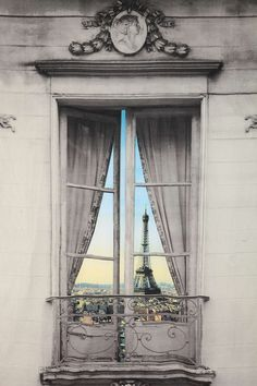 Paris Window View Tapestry