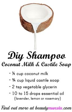 , DIY Shampoo with Coconut Milk & Liquid Castile Soap - beautymunsta - free natural beauty hacks and more! , diy shampoo with coconut milk and liquid castile soap. For the sake of my scalp, I need to try out castile soap. Diy Shampoo, Shampoo Bar, Homemade Shampoo And Conditioner, How To Make Shampoo, Homemade Shampoo Recipes, Detox Shampoo, Homemade Soaps, Homemade Facials, Shampooing Diy