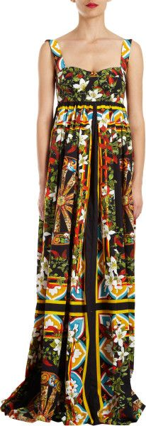 Dolce & Gabbana Multicolor Floral Print Sleeveless Gown    jaglady