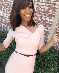 Shaun Robinson wearing #BlackHalo 3/4 Sleeve Jackie O dress in Bellini