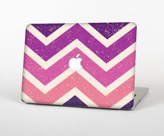 "The Purple Scratched Texture Chevron Zigzag Pattern Skin Set for the Apple MacBook Pro 15"" with Retina Display from Design Skinz"