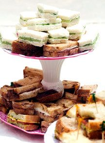 Finger Sandwiches for a High Tea-- Olivia Rawlings Tea Party Sandwiches, Finger Sandwiches, Tea Recipes, Cooking Recipes, Party Recipes, Salad Recipes, 1960s Food, Healthy Afternoon Snacks, Finger Foods