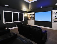 home theater set-up with blackout shades