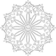 схема вязаного крючком ажурного узора из отдельных цветочных мотивов Crochet Snowflake Pattern, Crochet Motif Patterns, Crochet Stars, Crochet Snowflakes, Crochet Mandala, Crochet Diagram, Crochet Round, Thread Crochet, Crochet Doilies