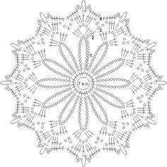 схема вязаного крючком ажурног Crochet Snowflake Pattern, Crochet Mandala Pattern, Crochet Stars, Crochet Doily Patterns, Crochet Snowflakes, Crochet Diagram, Thread Crochet, Crochet Doilies, Crochet Tablecloth