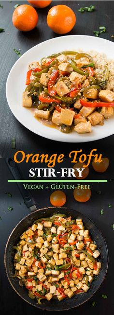 Orange Pepper Tofu (vegan gluten-free) Orange Tofu Stir-fry with Peppers! Source by VGastronomy Tofu Recipes, Vegan Dinner Recipes, Vegan Dinners, Vegan Recipes Easy, Appetizer Recipes, Whole Food Recipes, Vegetarian Recipes, Crockpot Recipes, Risotto