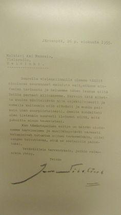 Jean Sibelius lähestyi toimitusta kirjeitse 1955 kiittääkseen hyvästä ohjelmasta.