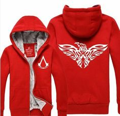 Leecos Assassin's Creed Winter Plus Velvet Hooded Sweater Red Assassin's Creed Desmond, Assassins Creed Hoodie, Hooded Sweater, Red Sweaters, Fashion Brands, Hoods, Zip Ups, Topshop, Velvet