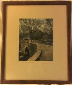 """Wallace Nutting Hand Colored Signed Print - Framed Early 1900's Art- """"Blow Me Down Bridge"""" by OldSchoolUpcycles on Etsy"""