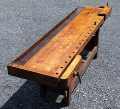 Fantastic Early Heavy Maple Traditional Woodworking Bench
