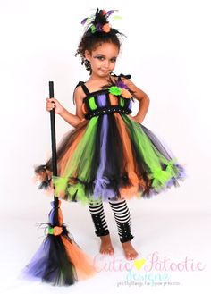 Petti Tutu Dress - Halloween Witch Costume - Green Orange Purple Black -  Twinkling Trickster - 12 Month to 2 Toddler Girl - CPDz 1e4b76ec5017b
