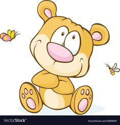 Cute bear sitting isolated on white background vector image on VectorStock Cute Vector, Gift Vector, Fruit Cartoon, Cartoon Faces, Happy Birthday Teacher, Baby Boy Cupcakes, International Children's Day, Cute Teddy Bears, Animal Faces