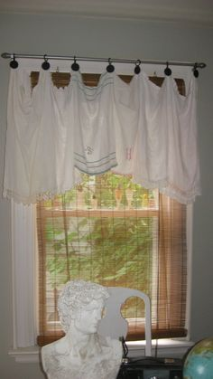 valance made from vintage linen tea towels