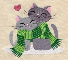 Hand Towel with Scarf Kitties Embroidery Design by creationsbme, $14.99