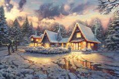 "#Painting named ""Christmas Lodge"", by Thomas Kinkade"