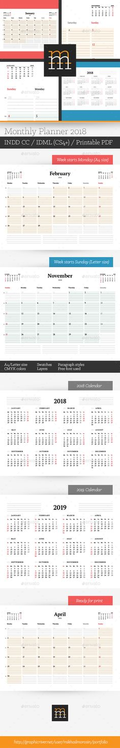 Monthly Planner 2018 Planners, Template and Calendar design - Indesign Calendar Template