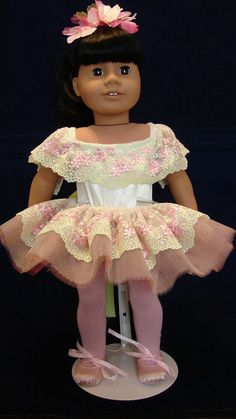 "American Girl 18"" Doll Pink and Lime Ballerina outfit. Inspiration"