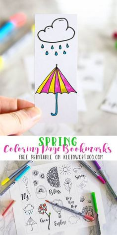 get these fun free spring printable coloring page bookmarks to help kids be creative or
