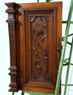 CABINET DOOR PANEL SOLID ANTIQUE FRENCH GOTHIC CARVED WOOD SALVAGED CARVING a #FRANCE