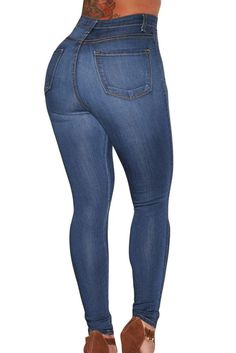 b0b66a8a9efe Dear Lover Fashion Stretch Blue Medium Wash Denim High-Waist Skinny Pencil  Slim Jeans Female Trousers For Women Capris