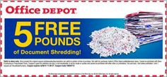 Printable Coupon for 5 Free Pounds of Document Shredding at Office Depot – Exp. Apr. 28, 2012