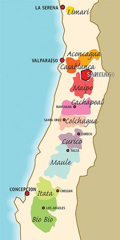 Wine Regions of Chile. A Chilean tasting map